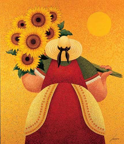 81 best Lowell Herrero paintings images on Pinterest |Sunflower Harvest Lowell Herrero